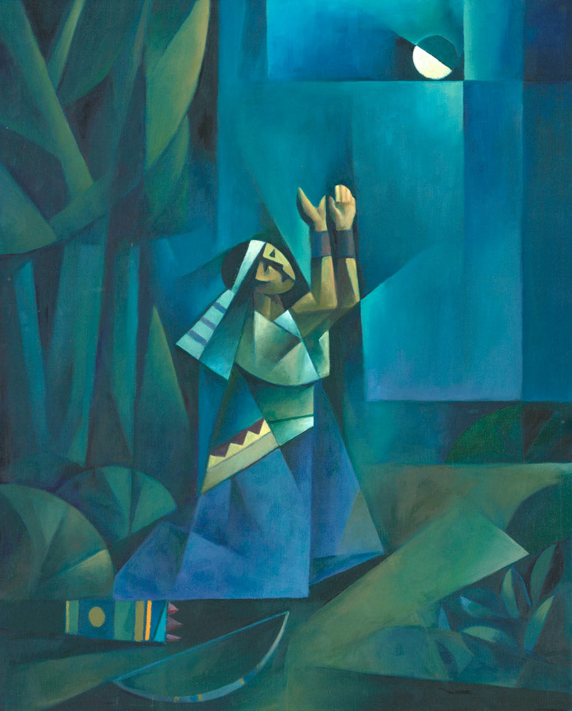 Enos is kneeling in a forrest with bow and arrow by his side in prayer.