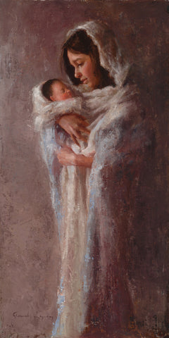 Mary standing holding baby Jesus.