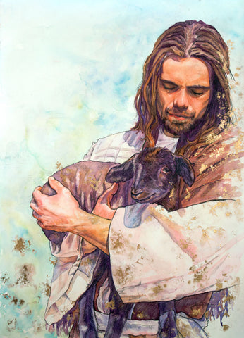 Jesus Christ holding a black sheep.