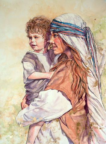 Jesus as a child and his mother Mary waiting for Joseph.
