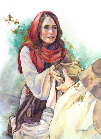 Woman giving water to Jesus.