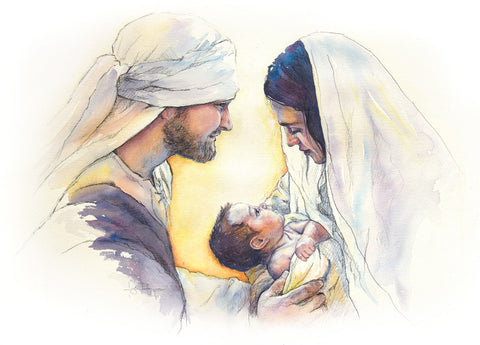 Mary and Joseph holding the savior of the world.