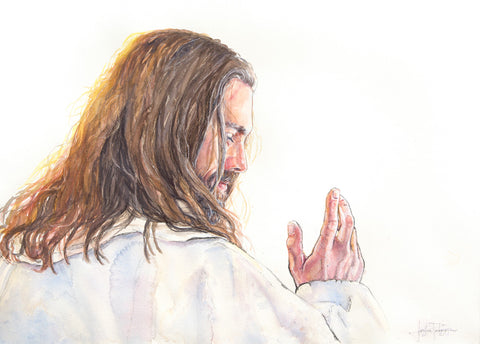 Jesus Christ from behind with hand up beckoning.