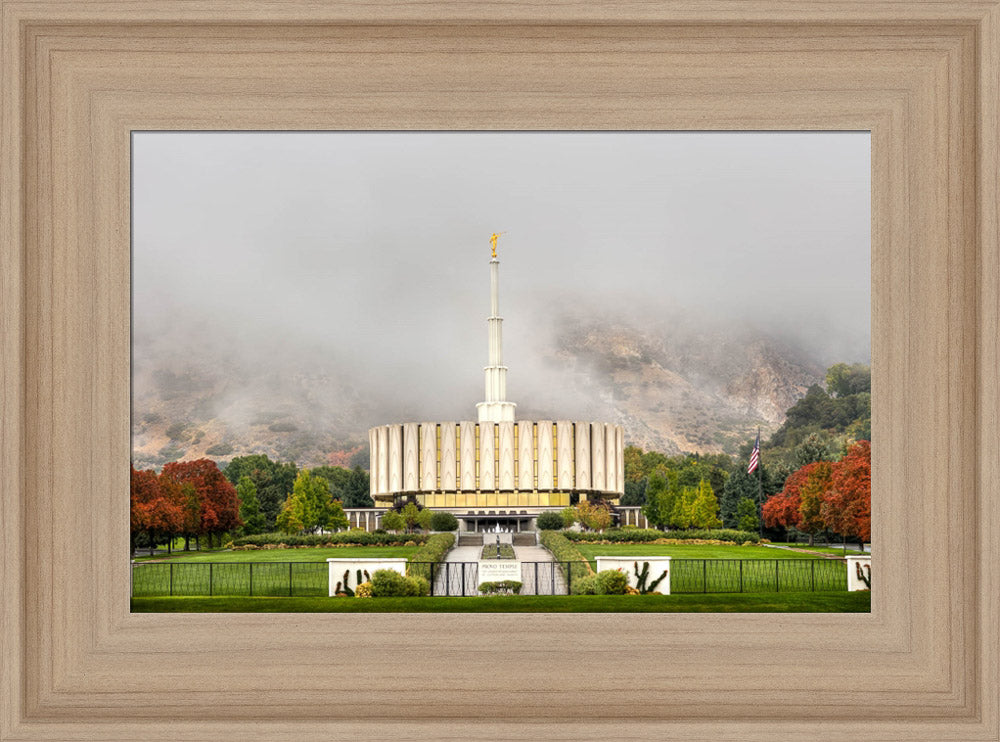 Provo Temple - Fall Fog by Kyle Woodbury