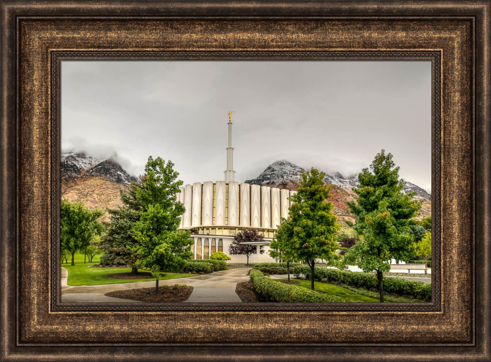 Provo Temple - Snowcapped Mountains by Kyle Woodbury