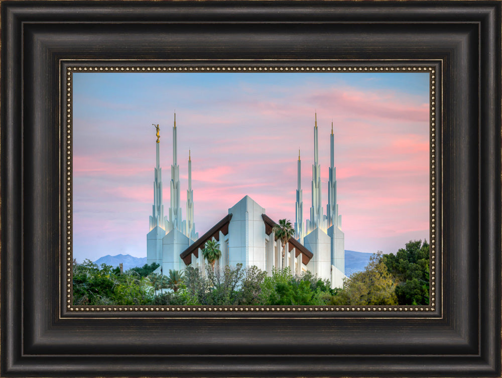 Las Vegas Temple - Pink Sunset by Kyle Woodbury