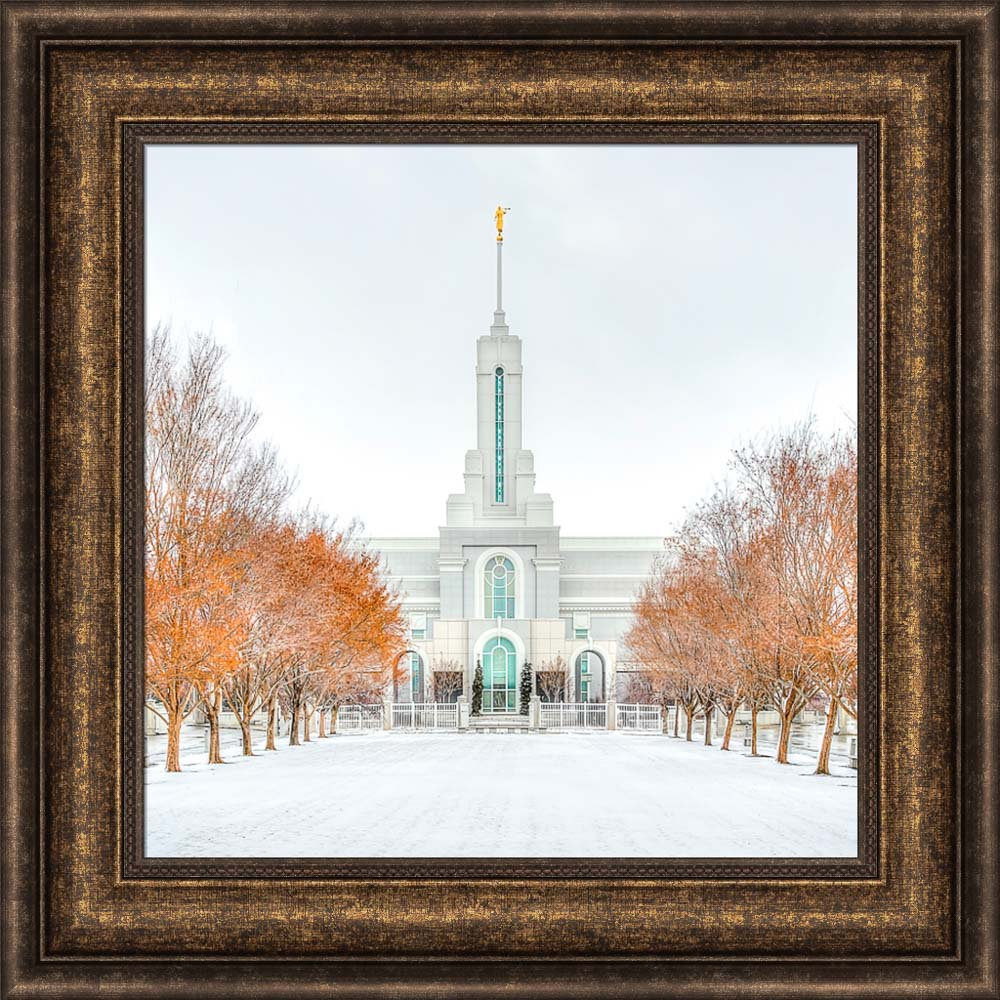 Mount Timpanogos Temple - First Snowstorm by Kyle Woodbury
