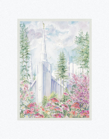 Portland Temple 11x14 mat by Laura Wilson