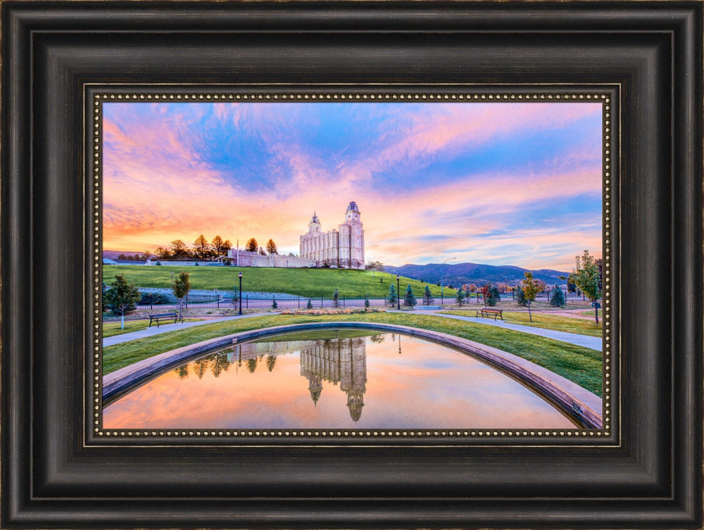 Manti Utah Temple - Reflection Pool by Lance Bertola
