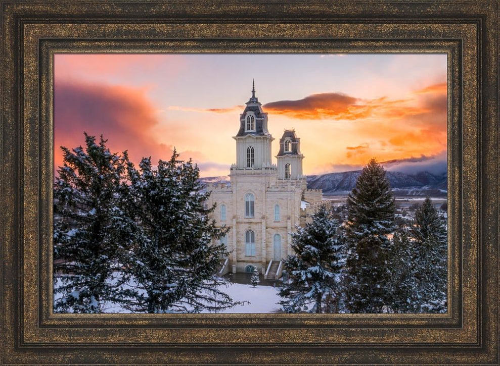 Manti Temple - Snow Covered Valley by Lance Bertola