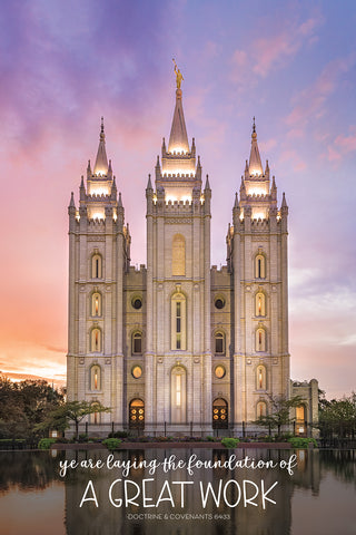 "Salt Lake City Temple - Glimmer of Hope ""Great Work"" 12x18 repositionable poster"