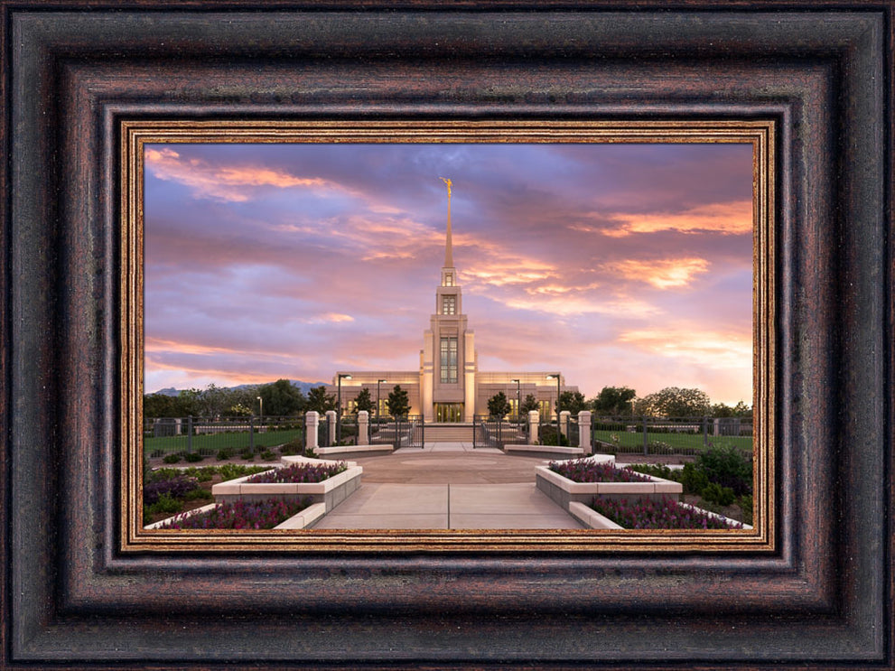 Gila Valley Arizona Temple - Vibrant Sunset by Lance Bertola