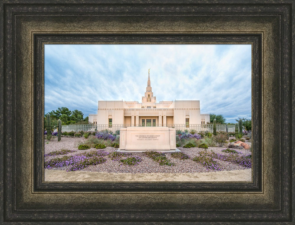 Phoenix Arizona Temple - Purple Flower Pathway by Lance Bertola