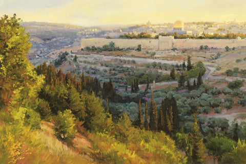 The city of Jerusalem being looked at from a tree covered hill.