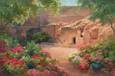 Empty tomb after Jesus had risen, surrounded by trees and flowers.