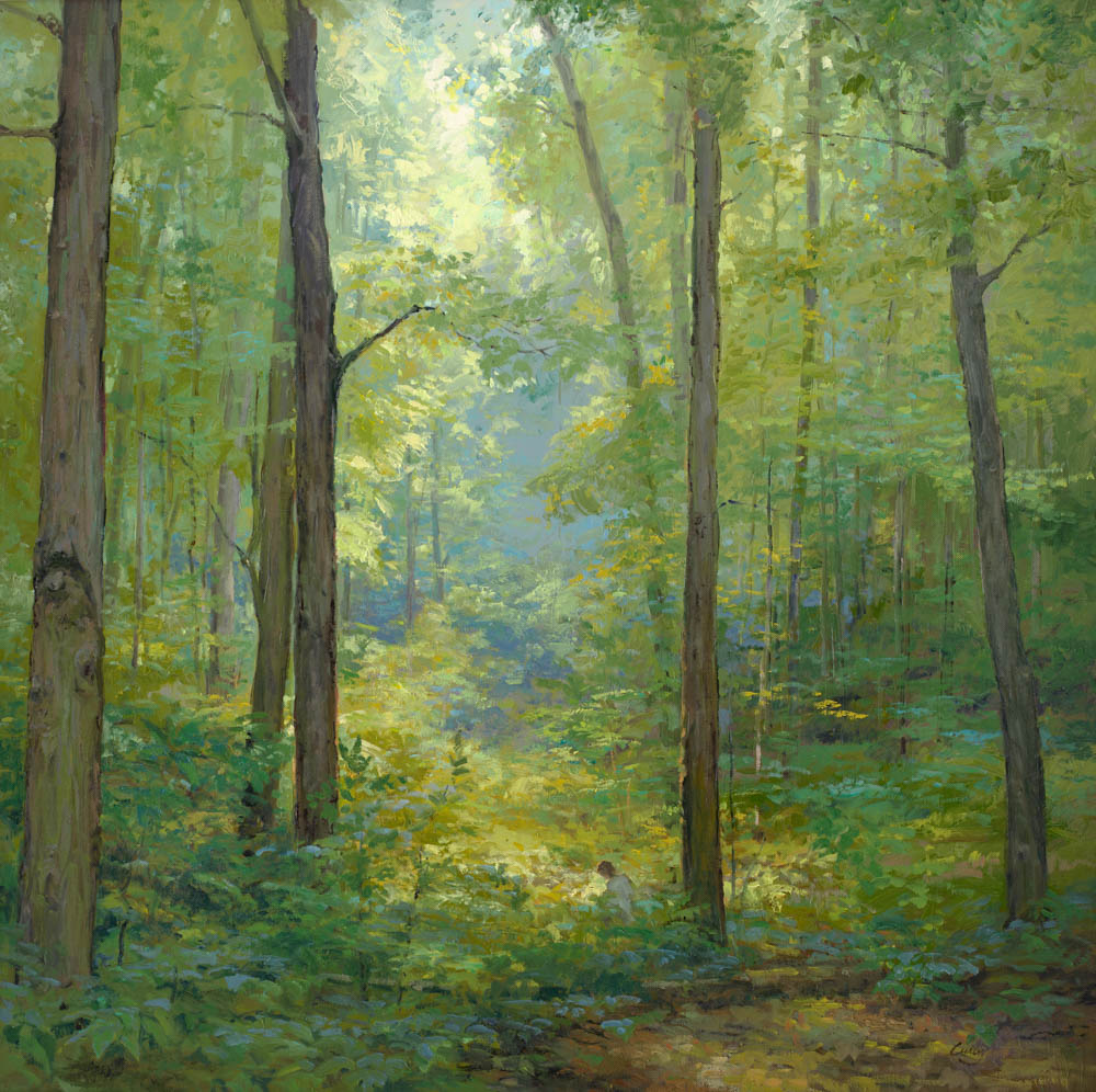 Joseph Smith kneeling in a grove of trees with a beam of light shining on him.