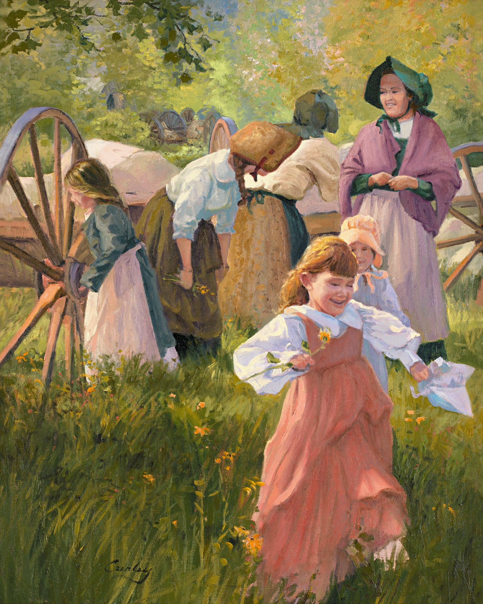 Group of women with handcarts smile while young girl picks flower.