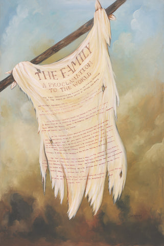 Title of liberty flag from the book of mormon with the Family Proclamation on it.