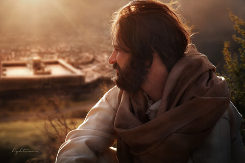 Jesus looking over the city of Jerusalem.