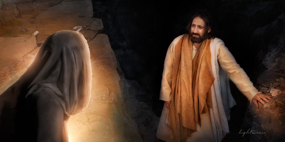 Jesus watching as Lazarus raises from the dead out of the tomb.