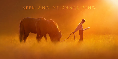 Young Joseph Smith leading a horse in a field while reading.