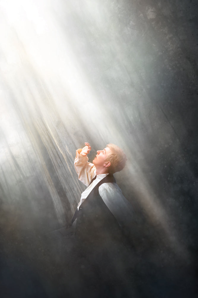 Young Joseph Smith overcoming darkness seeing light ascending.