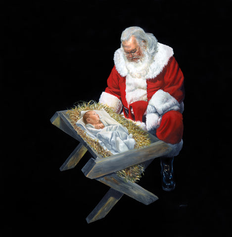 Santa kneeling over a manger looking at baby Jesus, with a black background.