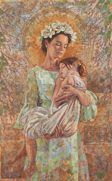 A mother with flowers in her hair holding a young girl in hope the savior can heal her.