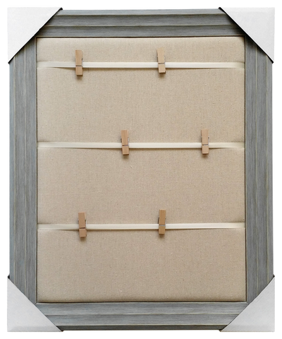 19x23 Framed Memo Board, 3 stripe ribbons with 6 clothespins over plain fabric, Blue frame