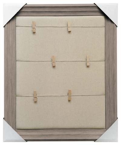 19x23 Framed Memo Board, Clothespins with twine over plain fabric, Light Brown frame