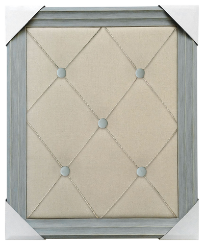 19x23 Framed Memo Board, French twine with blue buttons over plain fabric, Blue frame