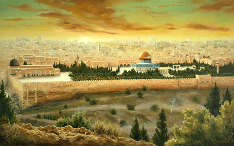 Solomon's Temple in the city of Jerusalem at sunset.