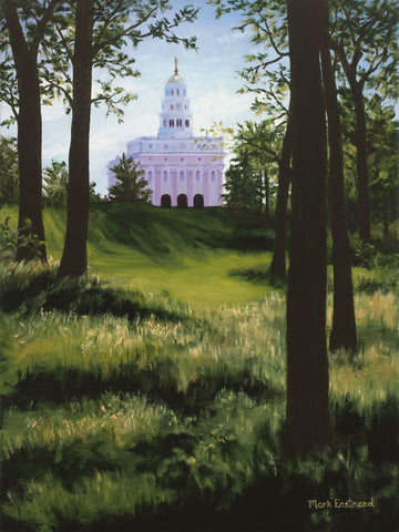 View of the Nauvoo temple through the trees.