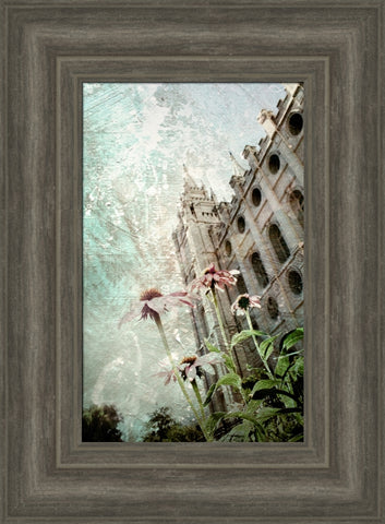 Salt Lake Temple - Hope 12x15 framed giclee canvas gray frame