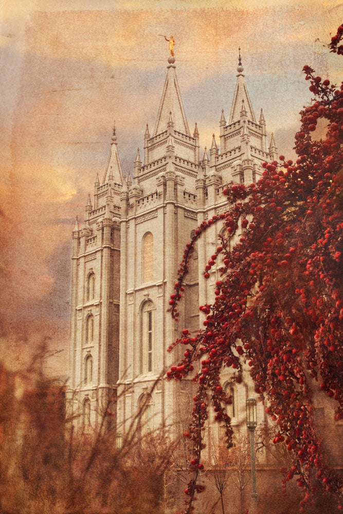 Salt Lake Utah Temple red leaves in autumn.