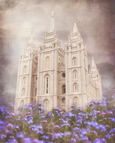 Salt Lake Utah Temple with purple flowers.