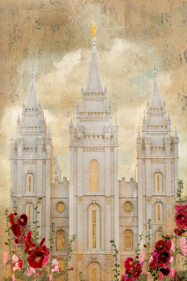 Salt Lake Utah Temple with red and pink flowers.