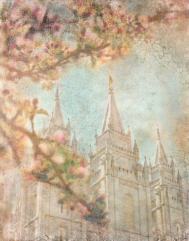Salt Lake Utah Temple spires with pink blossoms.