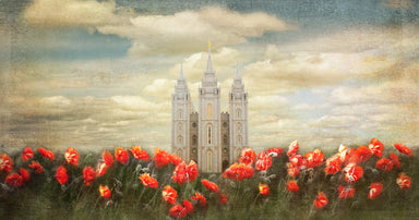Salt Lake Utah Temple with red tulips in front panoramic.