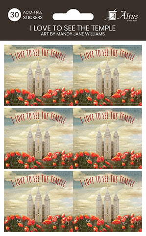 I Love To See The Temple sticker set pack of 30