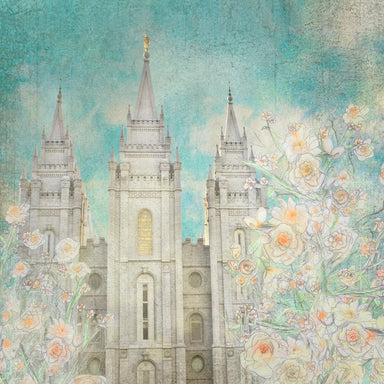 Salt Lake Utah Temple with yellow and orange drawn flowers.