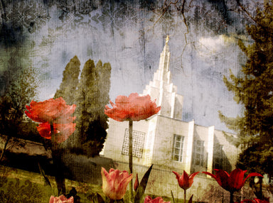 Idaho Falls Idaho Temple with red flowers and trees.