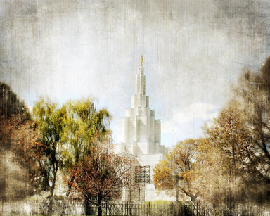 Idaho Falls Idaho Temple with trees.