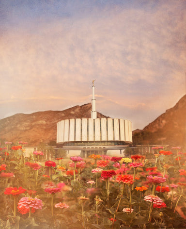 Provo Utah Temple with red flowers.