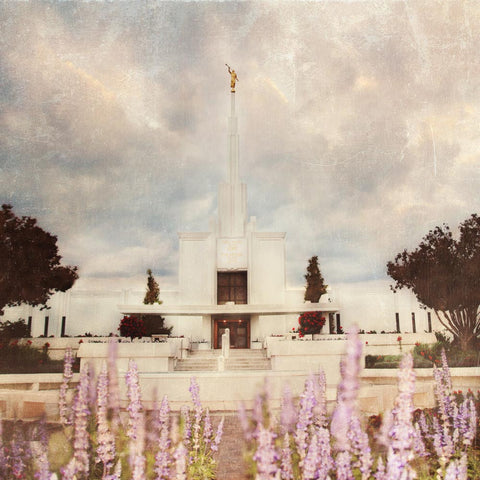 Denver Colorado Temple with purple flowers.