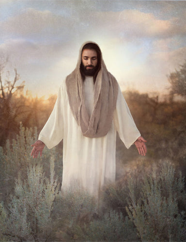 Jesus standing in sage bush with arms stretched out.