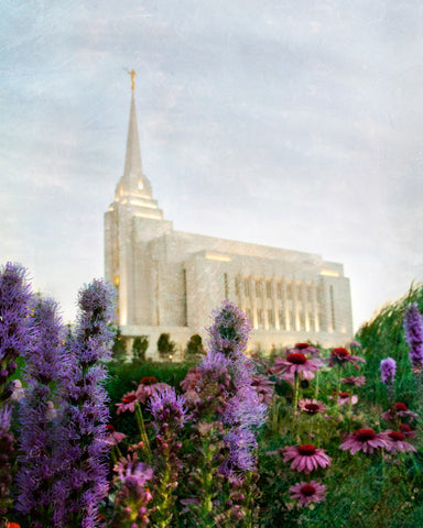 Rexburg Idaho Temple with purple flowers and blue sky.