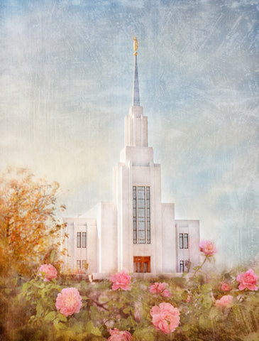 Twin Falls Idaho Temple with pink flowers.