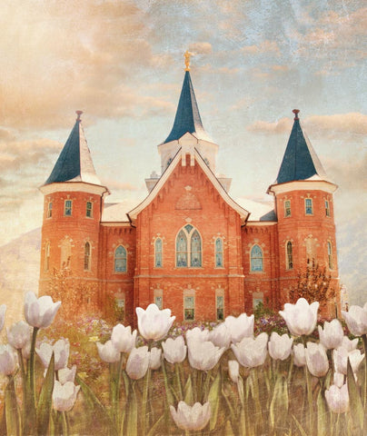 Provo City Center Utah Temple with white tulips.