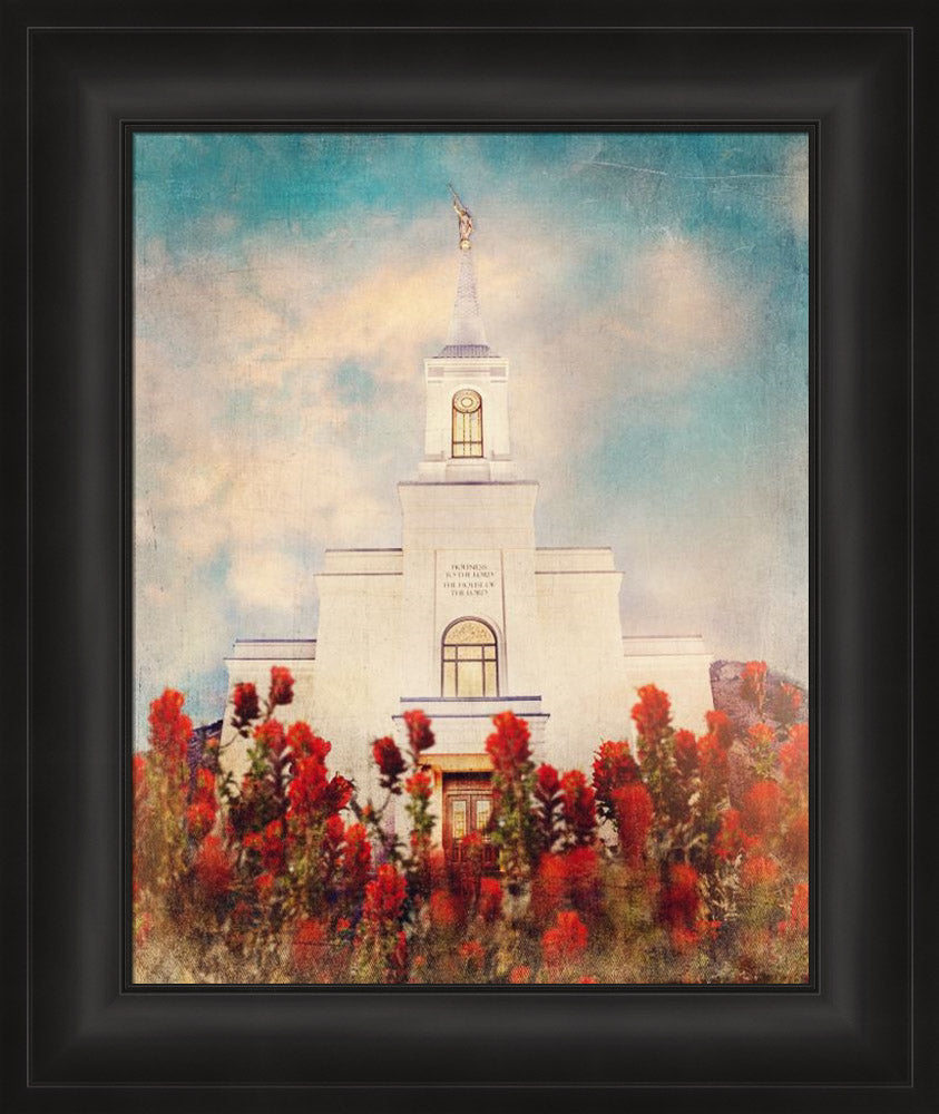 Star Valley Wyoming Temple with Indian Paintbrush by Mandy Jane Williams